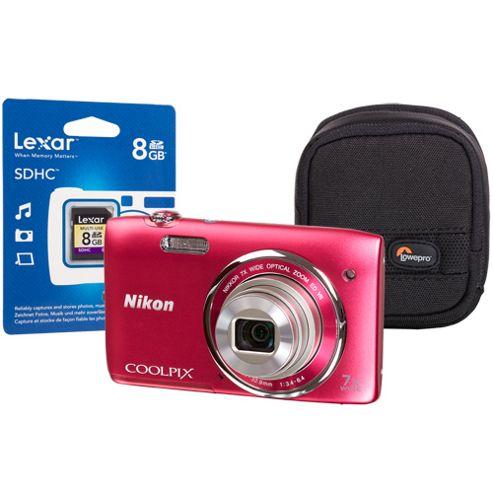 Nikon Coolpix S3500 Pink Camera Kit inc 8GB SD Card and Case
