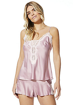 F&F Lace Trim Cami and Shorts Pyjama Set - Dusky pink