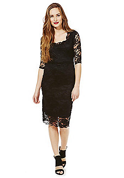 Feverfish Lace Scallop Dress - Black