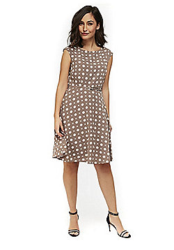 Wallis Spot Capped Sleeve Fit and Flare Dress - Taupe