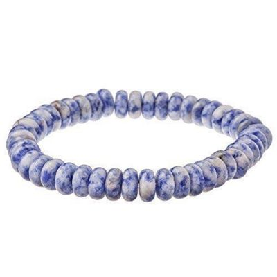 Urban Male Natural Stone Bead Men's Bracelet Blue and White 6mm