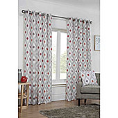 Marseille Eyelet Lined Curtains - Red