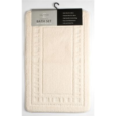 Catherine Landsfield Bathroom Armoni 2pc bathset, Bath Mat 50x80 Pedestal 50x40, cream