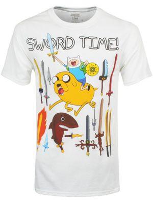 Adventure Time Sword Time White Men's T-shirt