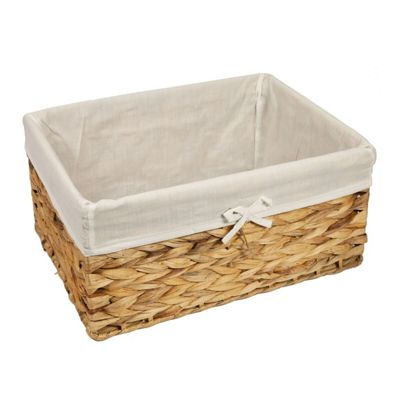 Woodluv Water Hyacinth Storage Hamper Shelf Basket With Lining- Large
