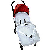 Broderie Anglaise Footmuff/Cosy Toes Fit Buggy Puschair Baby White With Black Slot Lace
