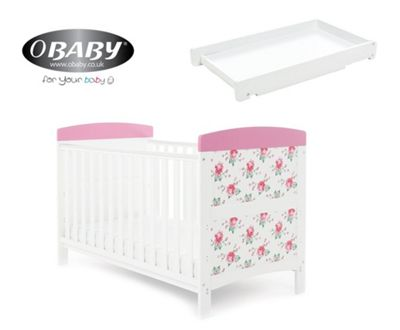 Obaby Grace Inspire Cotbed + Cot Top Changer - Cottage Rose