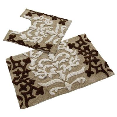 Homescapes Beige Damask Cotton Bath and Pedestal Mat