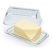 KitchenCraft Glass Embossed Vintage Style Covered Butter Dish KCBUTTER