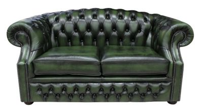 Chesterfield Buckingham 2 Seater Antique Green Leather Sofa