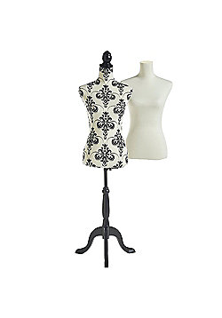Beautify Mannequin Dressmaker Dummy with 2 Removable Covers - White & Damask Print - UK Size 8/10