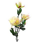Peony Rose Artificial Stem - 58cm - Pale Pink & Cream