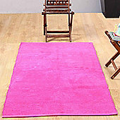 Homescapes Chenille Plain Cotton Extra Large Rug Pink, 110 x 170 cm