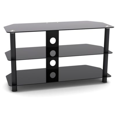 VonHaus Black Glass TV Stand for TVs up to 42