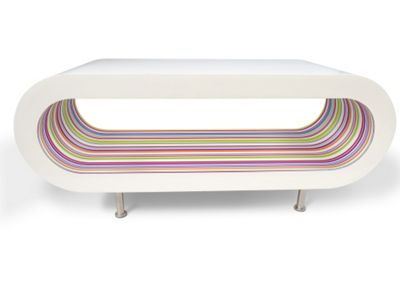Hoop Coffee Table / Tv Stand Large - White - Multi Stripes