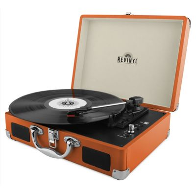 Revinyl Briefcase Bluetooth Vinyl Record Player - Orange