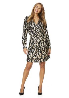 Vero Moda Floral Foil Wrap Dress XS Black