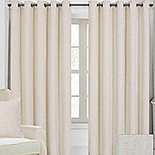"""Homescapes Natural Linen Eyelet Lined Curtain Pair, 90 x 72"""""""