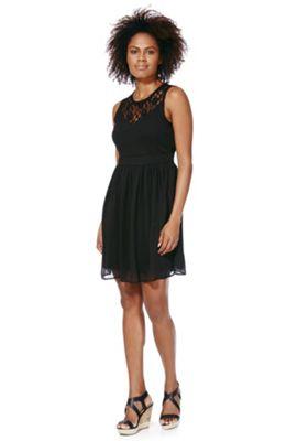 Vero Moda Lace Yoke Crinkle Dress XS Black