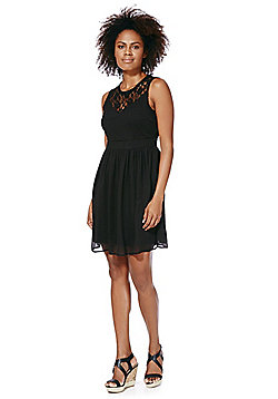 Vero Moda Lace Yoke Crinkle Dress - Black