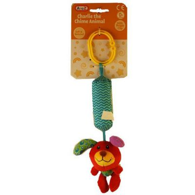 A to Z Red Dog Charlie the Chime Animal with Buggy Clip