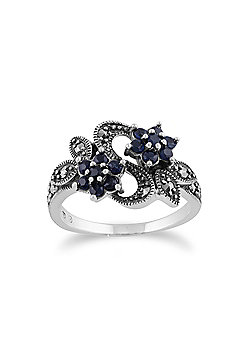 Gemondo Sterling Silver Art Nouveau 0.56ct Sapphire & Marcasite Flower Ring
