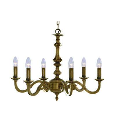 6 Light Antique Brass Fitting Candle - Bedroom/Living Room Chandelier