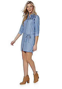 Only Embroidered Denim Shirt Dress - Light wash