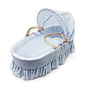 Kinder Valley Palm Broderie Anglais Moses Basket (Blue)