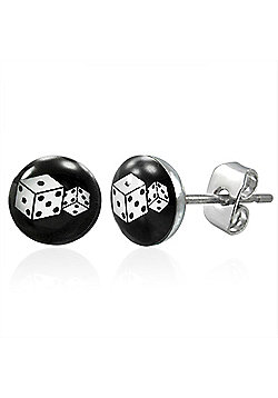 Urban Male Dice Design Stud Earrings For Men In Stainless Steel 7mm