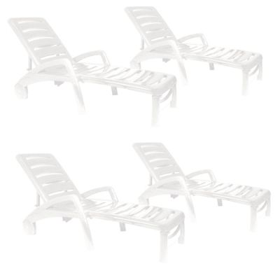 Resol Ibiza Plastic Home Garden Adjustable Reclining Sun Lounger - White - Pack of 4