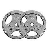 Body Power Standard (1 Inch) Tri Grip Discs - 5Kg (x2)