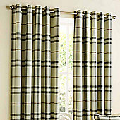 Homescapes Natural Beige Tartan Check Eyelet Curtain Pair 66x54""