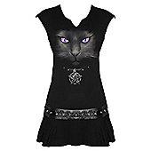 Spiral Black Cat Dress, Viscos, Adult Female, Medium, Black - Other