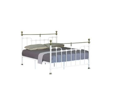 Comfy Living 4ft6 Double Victorian Style Metal Frame with Golden Rounded Finials in White with Damask Memory Mattress