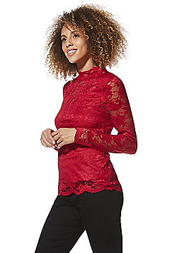 Vero Moda High Neck Lace Top - Red