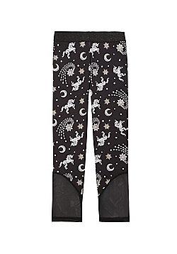 F&F Active Unicorn Print Leggings - Black