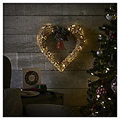 Large Pre Lit Rattan Heart Christmas Wreath