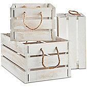 VonHaus Set of 3 White Wooden Storage Crates