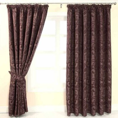 Homescapes Purple Jacquard Curtain Traditional Paisley Design Fully Lined - 46
