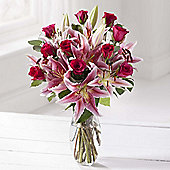 Cerise Rose & Lily Bouquet