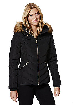 F&F Faux Fur Trim Shower Resistant Padded Jacket - Black