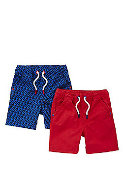 F&F 2 Pack of Drawstring Shorts - Blue & Red