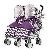 Obaby Leto Plus Twin Stroller with Footmuffs - ZigZag Purple