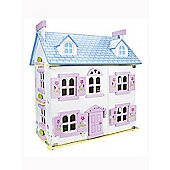 Leomark White Wooden Doll House with Furniture and Dolls