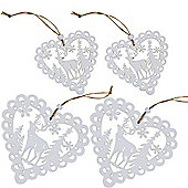 Set of 4 White Wooden Cut-out Scandi Heart Christmas Tree Decorations