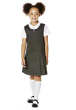 "F&F School Teflon EcoElite""™ Permanent Pleat Plus Fit Pinafore - Grey"