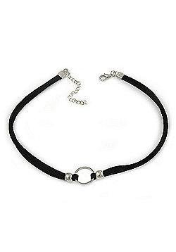 Black Faux Double Suede Cord Choker Necklace with Silver Tone Ring Pendant - 32cm L/ 6cm Ext