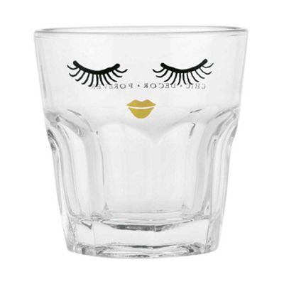 Miss Etoile Drinking Glass Short Eyes Closed with Gold Lip