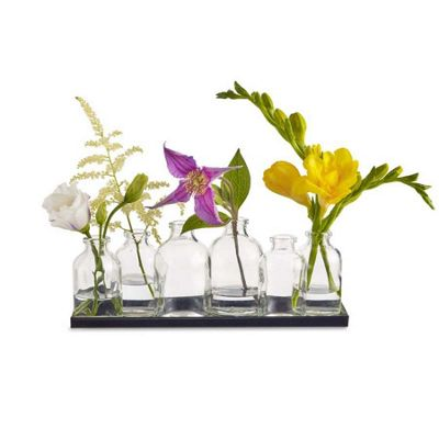 Design Ideas Vase Buddy Style Clear Recycled Glass Set of 6 Assorted with Base
